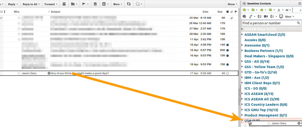 Figure 1: Drag an Email onto a Sametime Contact Group