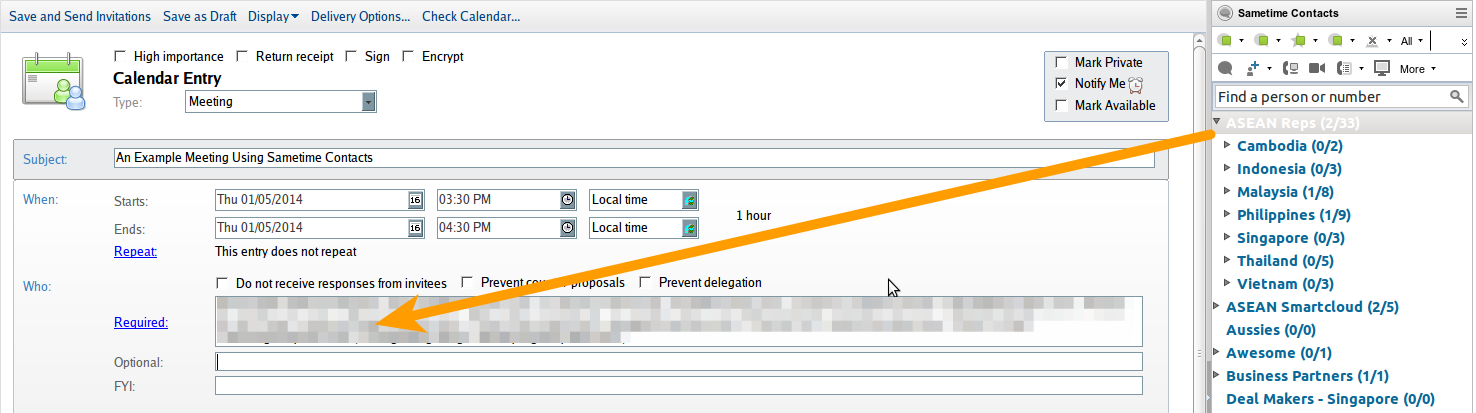 Figure 3: Using a Sametime group to add recipients to an address line