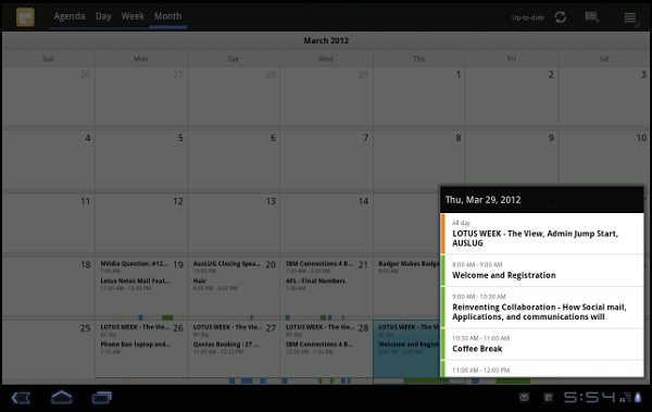 IBM Lotus Traveler Android Tablet: Month view with a day pop-up