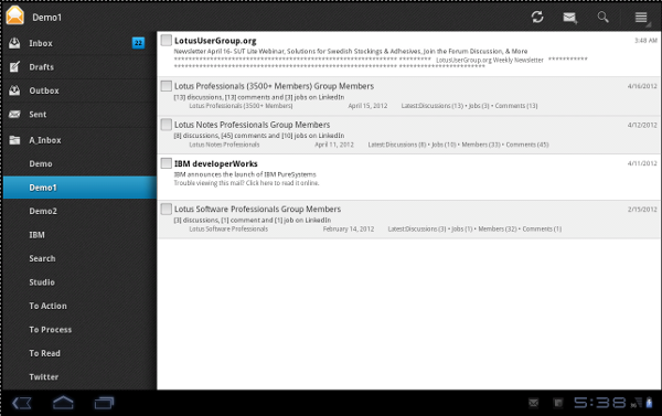 IBM Lotus Traveler Android Tablet main Mail Screen