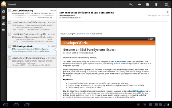 IBM Lotus Traveler Android Tablet: Download full content