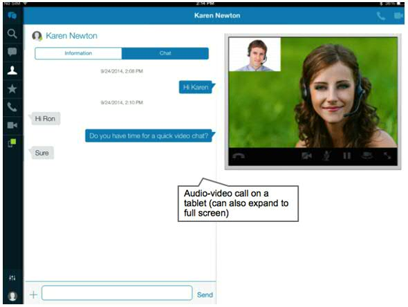 Figure 1: IBM Connections Cloud Voice and Video chats on Mobile