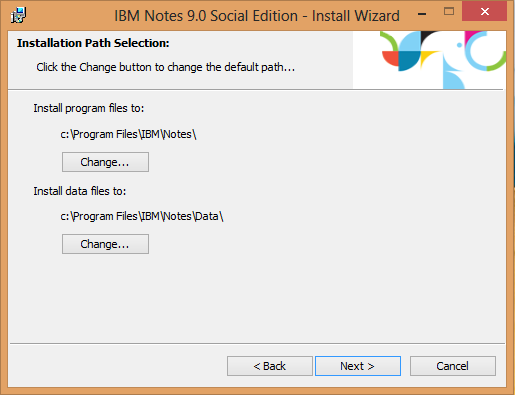 IBM Notes 9.0 - Install location