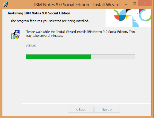 IBM Notes 9.0 - Install progress screen