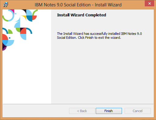 IBM Notes 9.0 - Install Wizard Completed