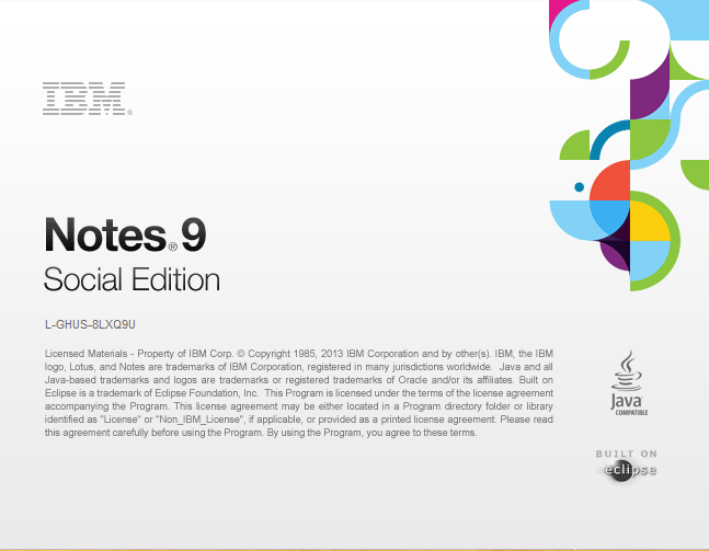 IBM Notes 9.0 - The new Notes 9 splash screen