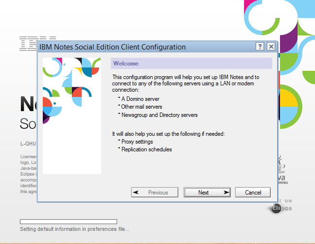 IBM Notes 9.0 - The configuration wizard