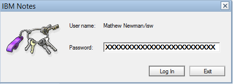 IBM Notes 9.0 - User Password Prompt