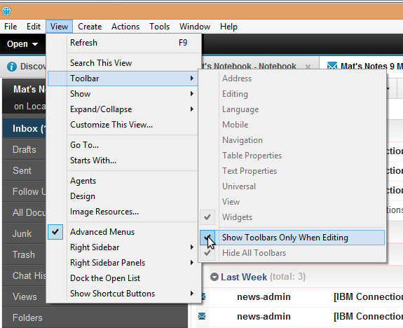 IBM Notes 9.0 - turning the Toolbars back on