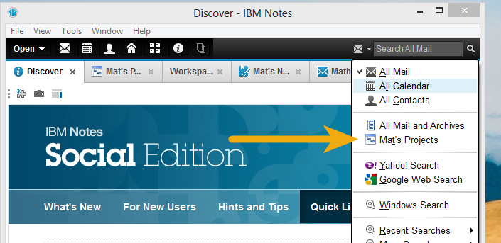 IBM Notes 9.0 - Selecting a custom database from the search scope