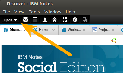 IBM Notes 9.0 - Bookmarks: The OPEN button on the Masthead