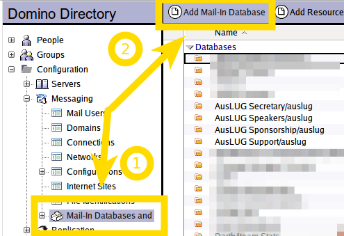 Figure 1: The Mail In Database and Resources view from the Domino Directory