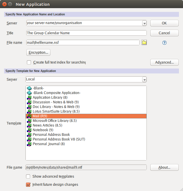 Figure 3: The New Application dialog, with all fields completed