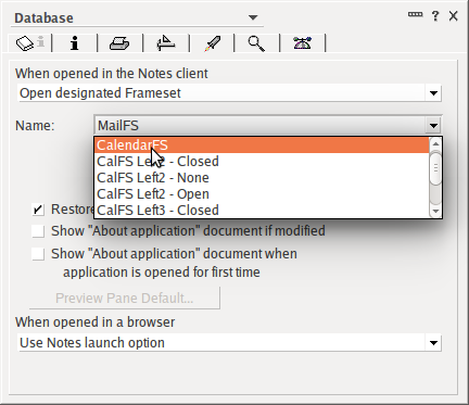 Figure 10: Changing the 'Launch' option from Mail (MailFS) to Calendar (CalendarFS)
