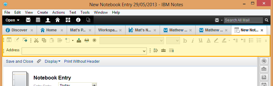 IBM Notes 9.0 Document in edit mode, toolbars available