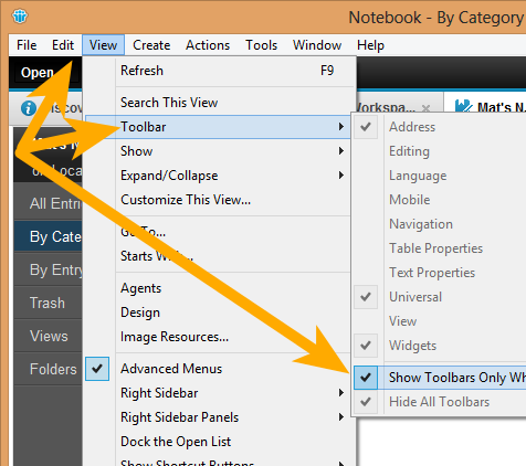 IBM Notes 9.0 Turning Toolbars back on