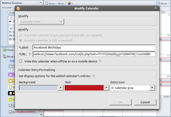 Add Facebook to Lotus Notes Calendar Step 4