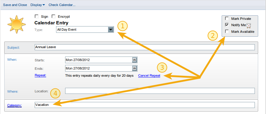Settings to mark yourself busy and enable OOO using your Lotus Notes calendar - click to enlarge