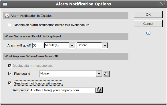 Setting additional options for times, sounds and notifications