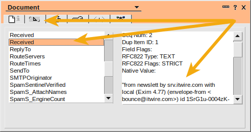 Lotus Notes message headers using the properties dialog