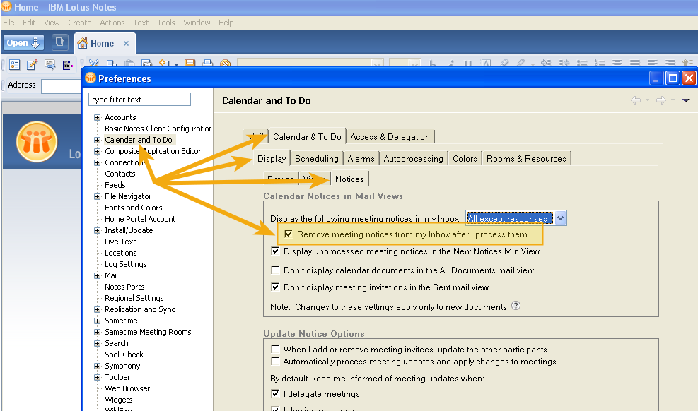 How to automatically remove meeting invitations from your IBM Lotus Notes inbox after you have responded to them