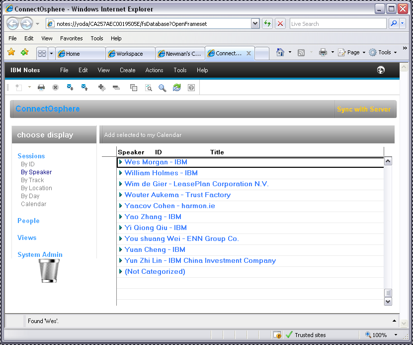 IBM Notes 9 browser plug-in database screen