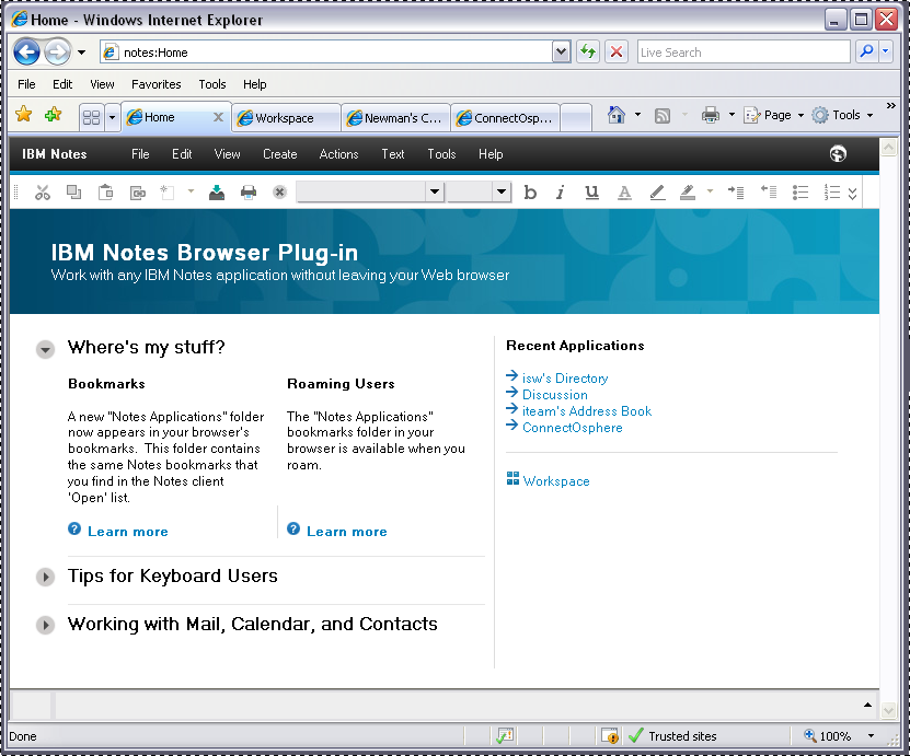 IBM Notes 9 browser plug-in Home Page