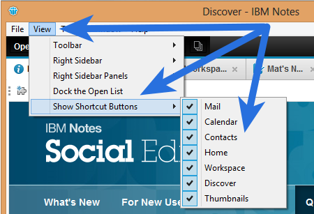 IBM Notes 9.0 - turning Masthead short-cuts on and off